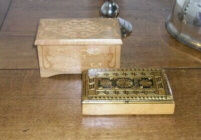 Vintage Wooden Inlaid Jewellery Box And Straw Inlaid Wooden Box