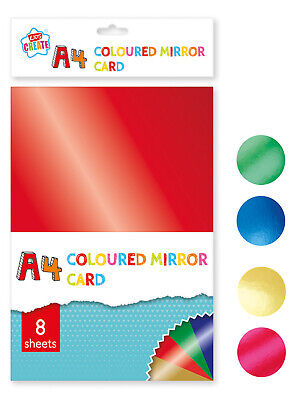 8 Sheets A4 Assorted Coloured Mirror Cardstock Scrapbooking Home Craft School