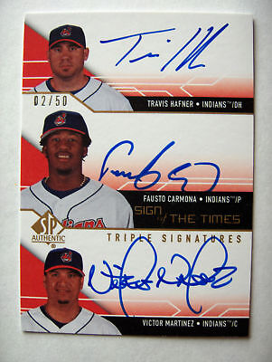 2008 SP Authentic Sign Times Travis Hafner Fausto Carmona Victor Martinez Auto