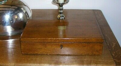 Antique Large Oak box Cutlery Box with Inner tray fully lined and key
