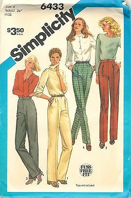 5616 Vintage Simplicity Sewing Pattern Misses Slim Fitting Proportioned Pants FF