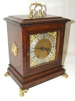 * Antique Oak & Bronze Ormolu TING TANG Bracket Mantel Clock Winterhalder W & H