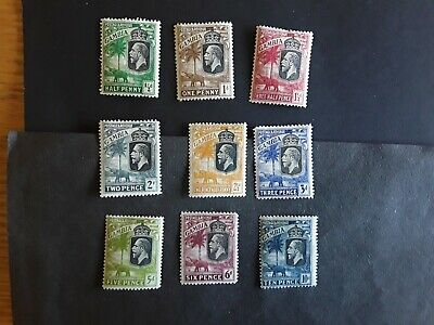 KGV,Gambia ,small group of 9 stamps. Mint lightly hinged.