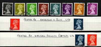 "GB Machins selection of ""Harrison"" & ""Walsall Security"" printings used."