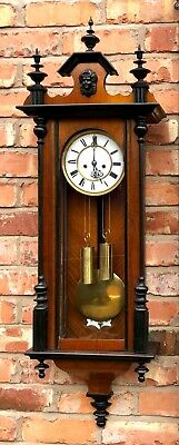 Antique Walnut & Ebonised Double Weighted Vienna Wall Clock FURDERER & JAEGLER
