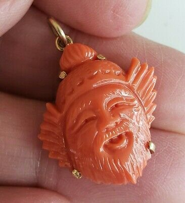 Vtg 14K Gold Carved Red Coral Man Chinese Face Beard Pendant Immortal 3.5(gr)