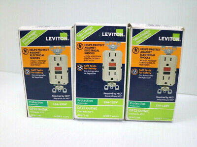 Lot of 3 Leviton 15 Amp GFCI Outlet 125V ivory color