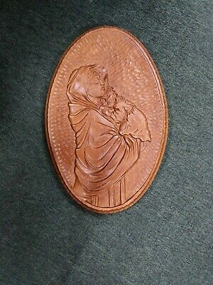 Vintage hand carved wooden Madonna and child wall plaque