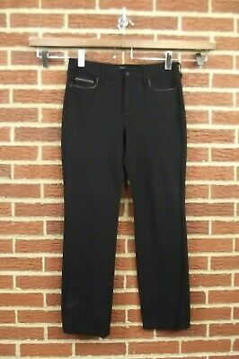 Womens NYDJ Not Your Daughters Jeans Size 10 Ponte Pants Black Straight Leg