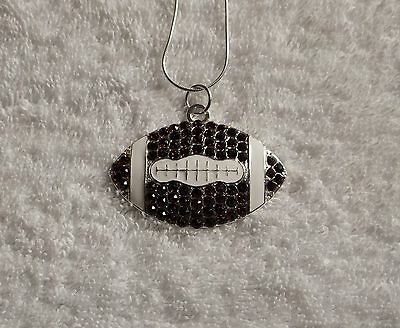 Unwanted RUGBY BALL Large Charm NECKLACE + Rhinestones + Gift Bag Rugger Fans