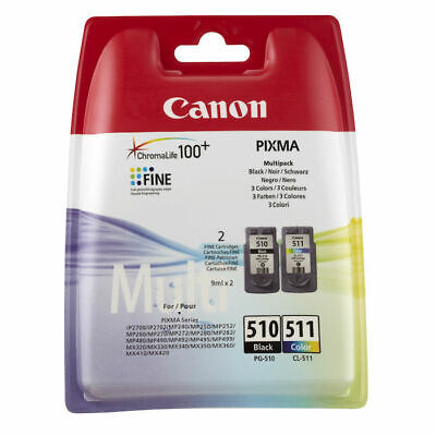 MULTIPACK ORIGINALE CANON Pg510 + Cl511 Pixma IP2700 MP240 MP260 MX320 MX350