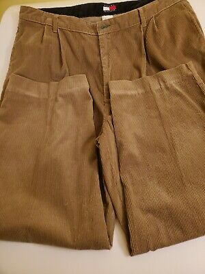 TOMMY HILFIGER MENS CORDUROY PLEATED PANTS VINTAGE BROWN Cord Trousers 40x32