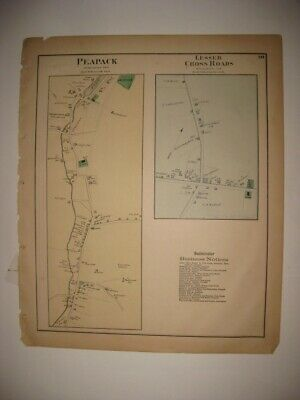 Antique 1873 Peapack Gladstone Somerset County New Jersey Handoclored Map Superb