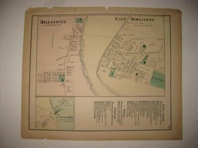 Antique 1873 East & Millstone Cloverhill Somerset County New Jersey Handcolr Map
