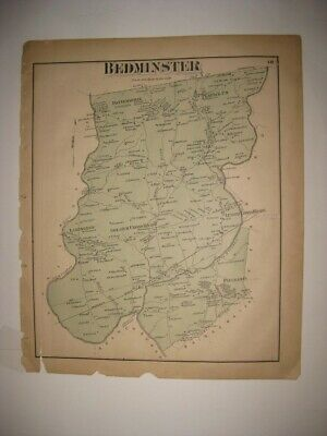 Antique Bedminster Township Somerset County New Jersey Map Peapack Gladstone
