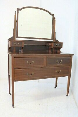 Edwardian Mahogany Inlaid Dressing Table With Mirror