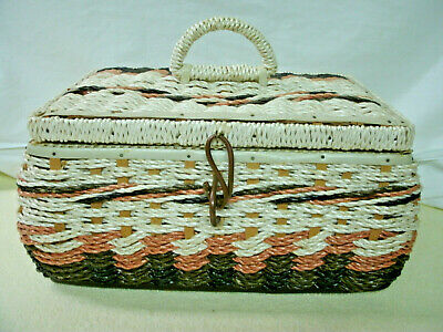 Vintage  Sewing Basket--Plastic Wicker--Brown/Tan----Original