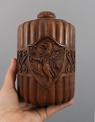Antique Carved Wood Figural Cigars Humidor Liverpool Griffin Heraldry Crest, NR