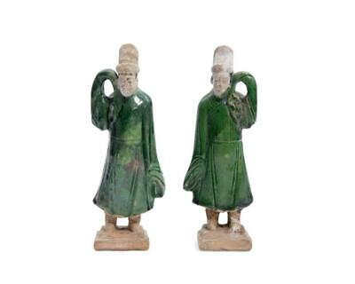Pair of Antique Ming Dynasty Chinese Green Glazed Statues of Attendants
