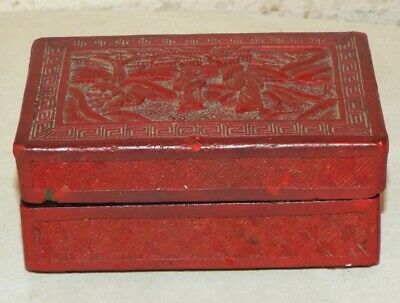 Old Antique Chinese Cinnabar Red Lacquered Box ***No Reserve