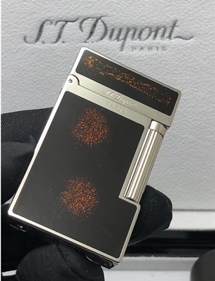new S.T Dupont Ligne 2 Metal Gas Lighters Cigarette Smoking BLACK +Silver