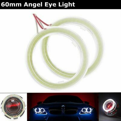 2Pcs 60MM White COB LED Angel Eyes Headlight Halo Ring Warning Lamps with Cover