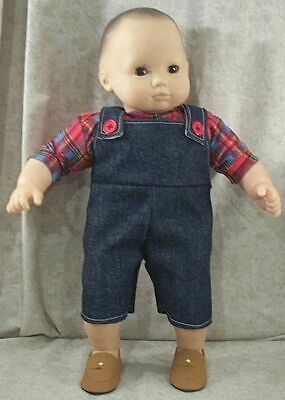 """Doll Clothes Baby Hand Made 4 American Girl Boy 15"""" Overalls 2pc Denim Red NEW"""