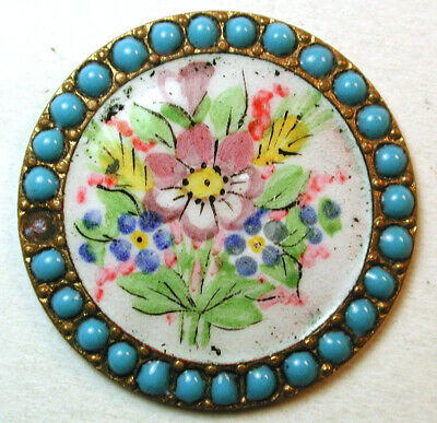 """Antique French Enamel Button Hand Painted Flowers w/ Pierrieres Border -1"""""""