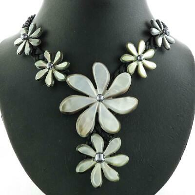 GORGEOUS BLACKLIP OYSTER FLOWER MOTHER OF PEARL SHELL BLACK ROPE necklace