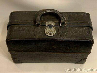 Vintage Black Leather Doctor's Medical Bag w Instruments Medicine Bottles