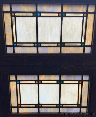 Antique Arts & Crafts Craftsman Style Stained Leaded Glass Transom Windows 29 18