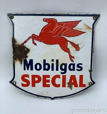 Vintage Mobilgas Sign Mobil Oil  Porcelain Gas Pump Pegasus Winged Horse