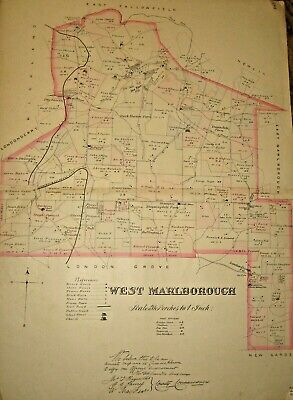 West Marlborough Township Chester County Pa 1883 Doe Run Large Color Map