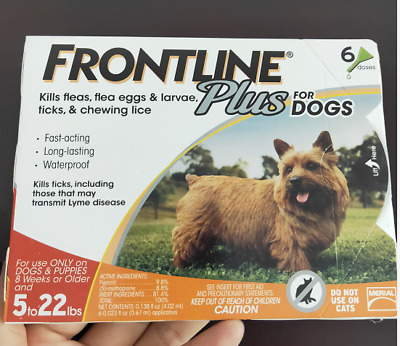 FRONTLINE Plus for Small Dogs 5-22 lbs Orange Box 6 Month Supply-6 Doses