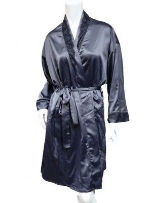 Vanity Fair Womens Silky Gray Robe Lace Front Housecoat Negligee Cover Up