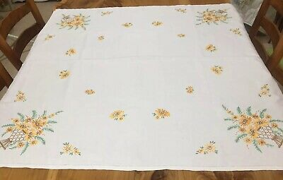 Vintage embroidered square tablecloth