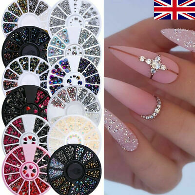 Women Nail Art Rhinestones Rose Gold Crystals Gems Beads Charms Pearl Glitter