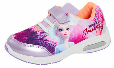 Girls Disney Frozen 2 Light Up Trainers Kids Elsa Sports Shoes Flashing Lights