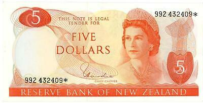 New Zealand $5.00 Star Note Side Facing with Hardie Signature aEF - 992432409*