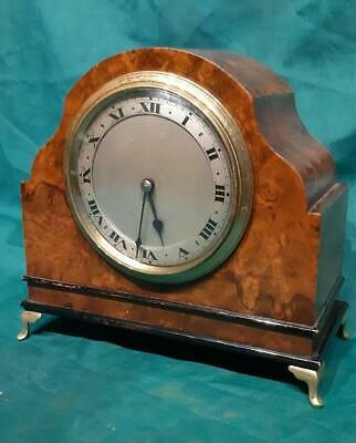 1930's Burr Walnut & Brass Mantel Clock Fitted with Brass 8 Day Movement