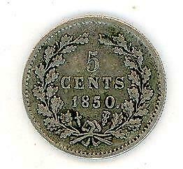 1850 Netherlands Silver Five Cent Coin