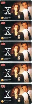 5 x X Files $5.00 Phone Cards Pacificnet Australia - Unused