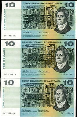 5 Consecutive 1966 Australian $10.00 Notes Coombs/Wilson EF - SCT 952672/75