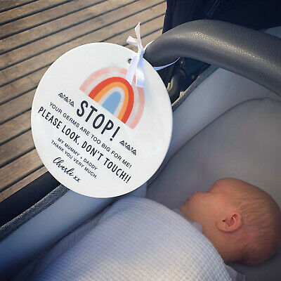 Personalised Printed Look Don't Touch Acrylic Baby Pram Warning Safety Sign