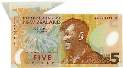 2003 New Zealand $5.00 Polymer Banknote with Large Flap