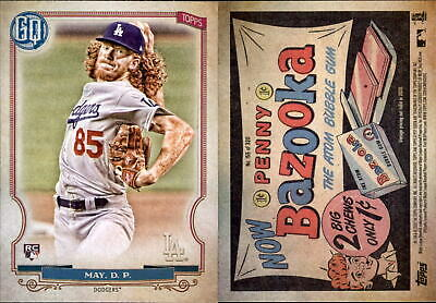 2020 Topps Gypsy Queen DUSTIN MAY Bazooka Back Parallel Dodgers RC #155