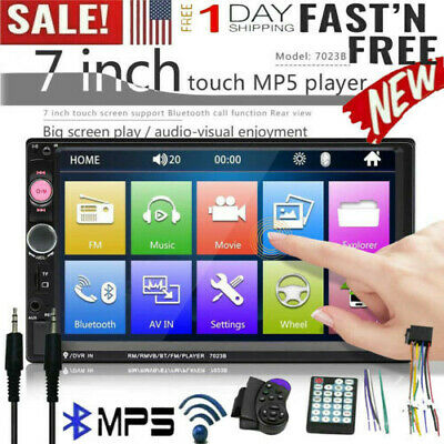 ❤️7 Inch Double 7023B 2 DIN Car FM Stereo Radio MP5 Player TouchScreen Bluetooth
