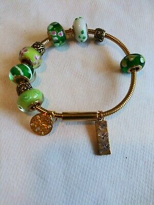 Hand Painted yorkshire terrier yorkie glass charm bracelet beautiful