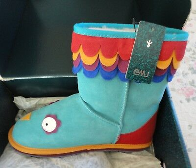 Mint Box New Emu Australia Childrens Size 4 Blue Little Creatures Parrot Boots