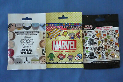 STAR WARS  MARVEL Disney Pin LOT of 3 Packs Mystery 15 pins Sealed NEW AUTHENTIC
